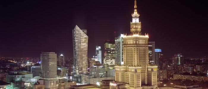 Ночная панорама Варшавы